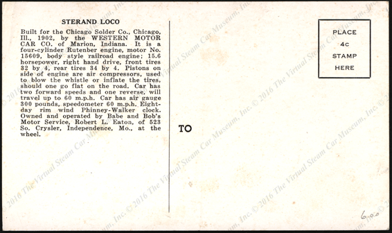 Sterand Lock, Chicago Slder Company, Western Motor Car Company Marion, IN Postcard, Reverse