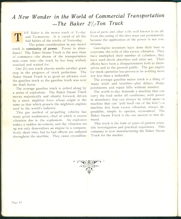 Baker Steam Motors The Iron Hand Brochure