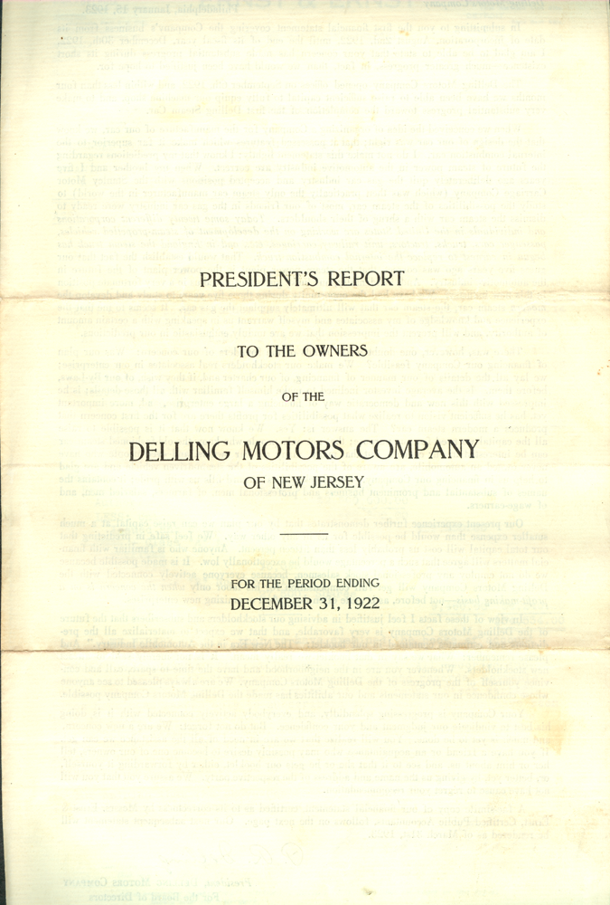 Delling Motors Company Financial Statement