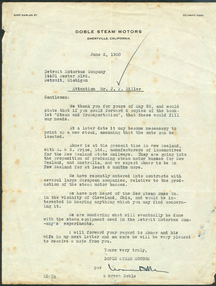 Warren Doble June 6 1930 Letter