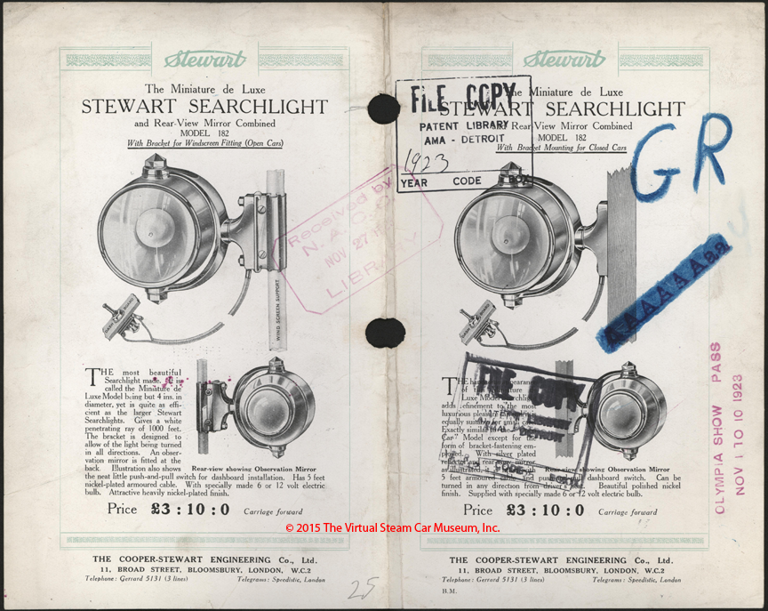 Cooper-Stewart Engineering Company, Ltd., November 10, 1923, Searchlight Borchure, Front