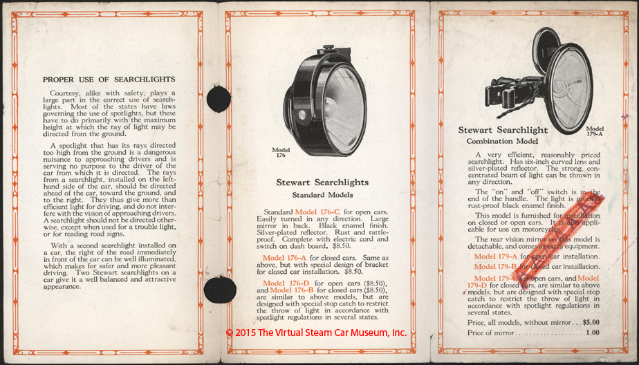Stewart-Warner Speedometer Corporation, December 23, 1922, Searchlight Brochure, inside
