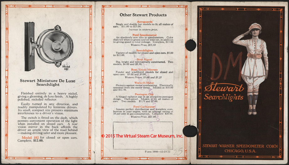 Stewart-Warner Speedometer Corporation, December 23, 1922, Searchlight Brochure, Outside