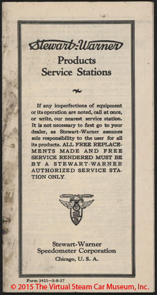 Stewart_Warner Speedometer Corporation, Service Stations, March 8, 1927