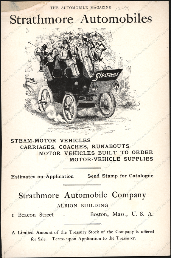 Strathmore Automobile Comp;any, December 1899 Magazine Advertisement, The Automobile Magazine