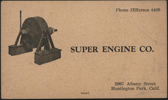 Super Engine Company, Advertising Card, ca: 1925, Huntington Park, CA