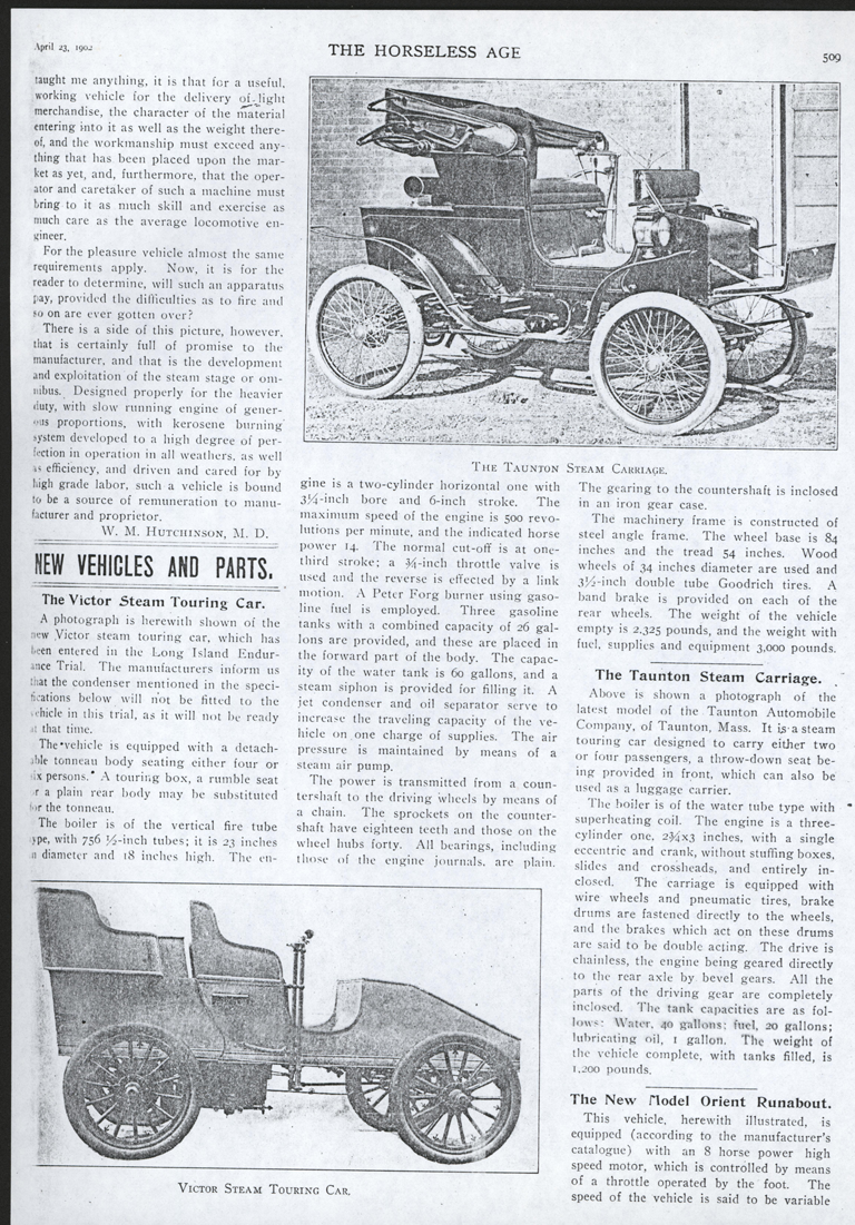 Taunton Automobile Company, Taunton Steam Car, Horseless Carriage, April 23, 1902, p. 509