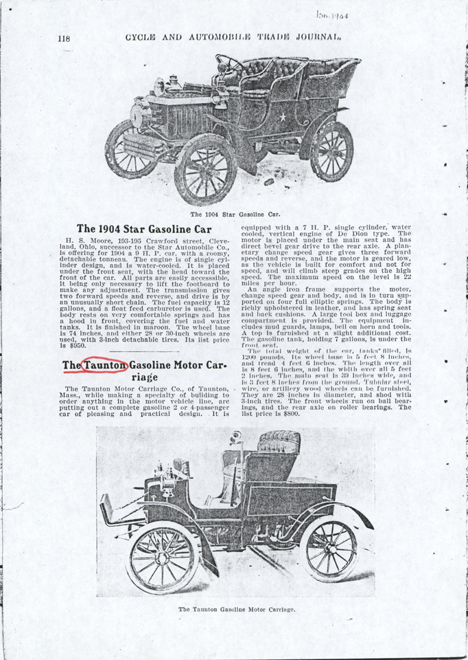 Taunton Automobile Company, January 1904 Magazine Article, Cycle and Automobile Trade Journal, p. 118, Photocopy, Conde Collection.