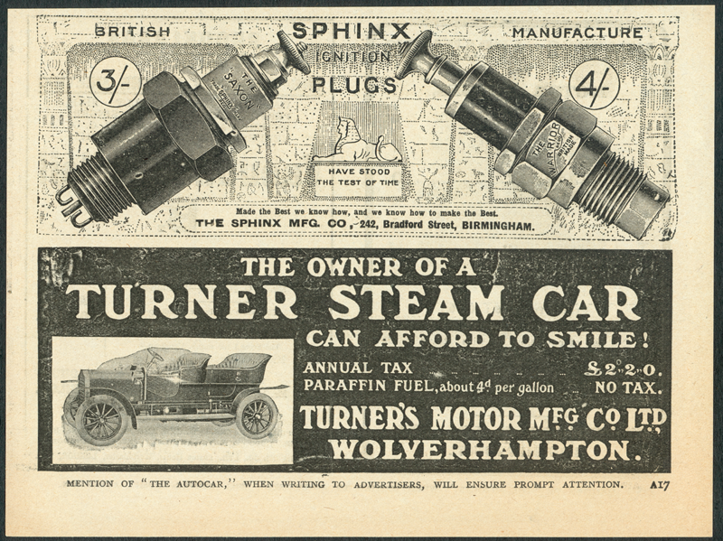 Turner Steam Car The Autocar Advetisement 1910