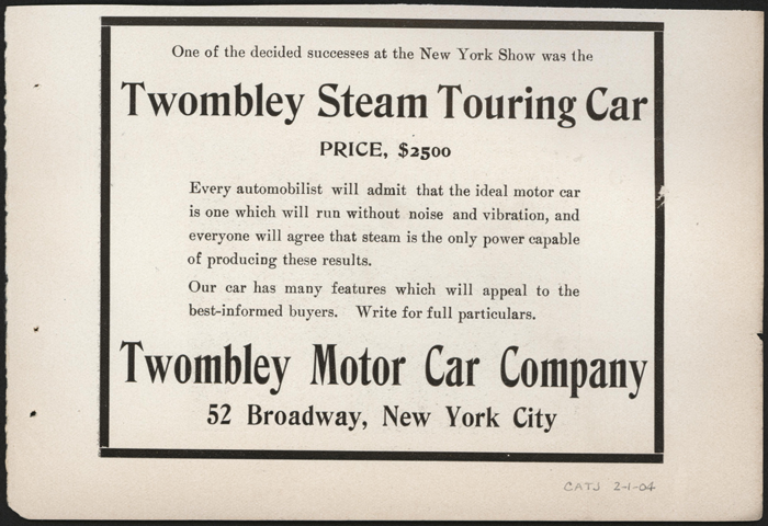 Twombly Motor Carriage Company, February 1904, Cycle and Automobile Trade Journal advertisement, Conde Collection