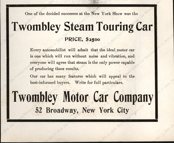 Twombly Motor Car Company, Cycle and Automobile Trade Journal, P. 160