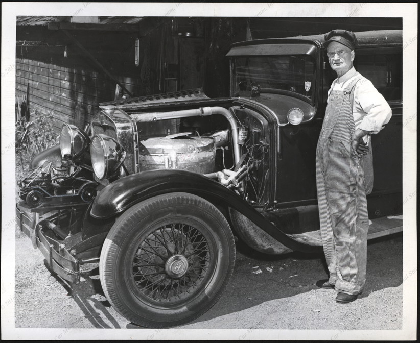 George Edward Underwood Steam Car, 1951, Converted 1928 Hupmobile, 1951 Press Photograph Front
