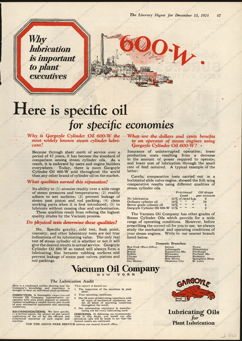Vacuum Oil Company, Steam Car Cylinder Oil, Magazine Advertisement, December 13, 1924, The Literary Digest