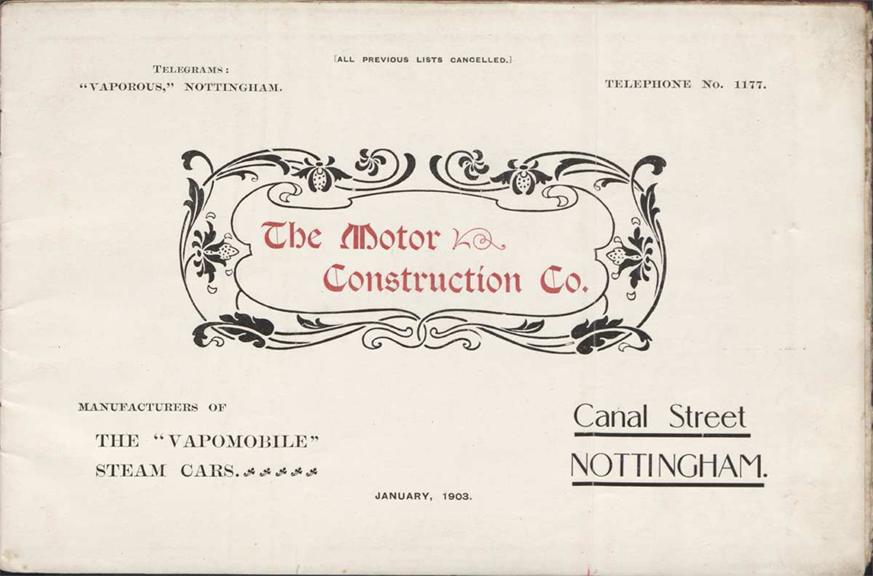 The Motor Construction Company, Nottingham, England, 1903, Trade Catalogue, Hayley Library