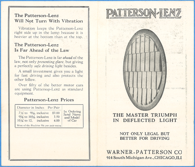 Warner-Patterson Company, Patterson Lenz, 1923 Advertising Brochure, Front