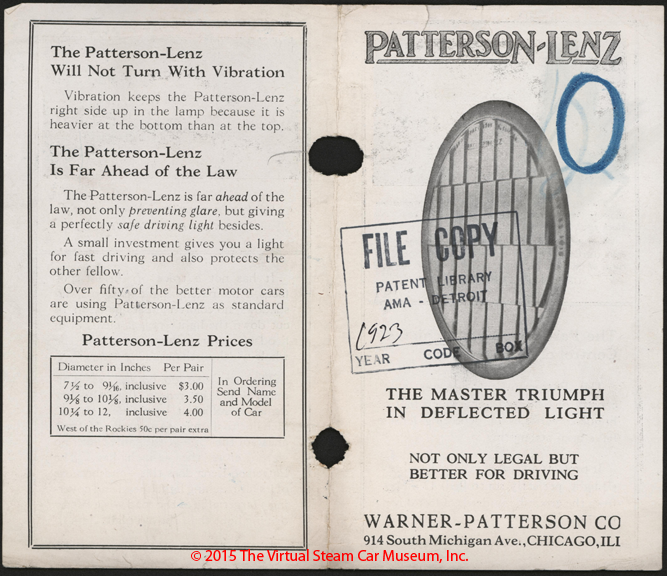 Warner-Patterson Company, Patterson Lenz, 1923 Advertising Brochure