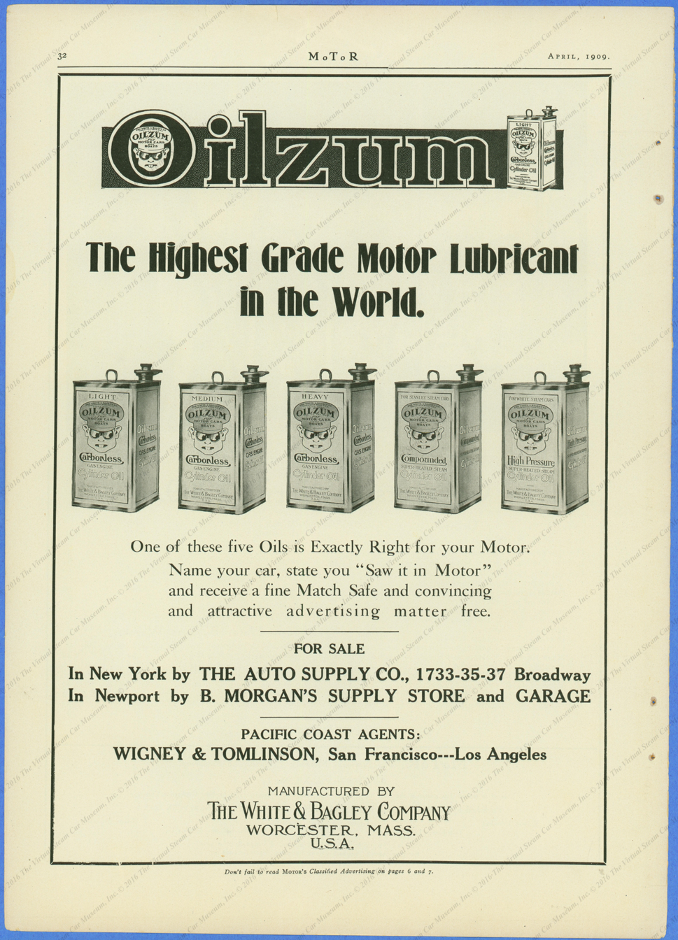 This Oilzum advertisement appeared in Motor Magazine for April 1909.  Page 32.
