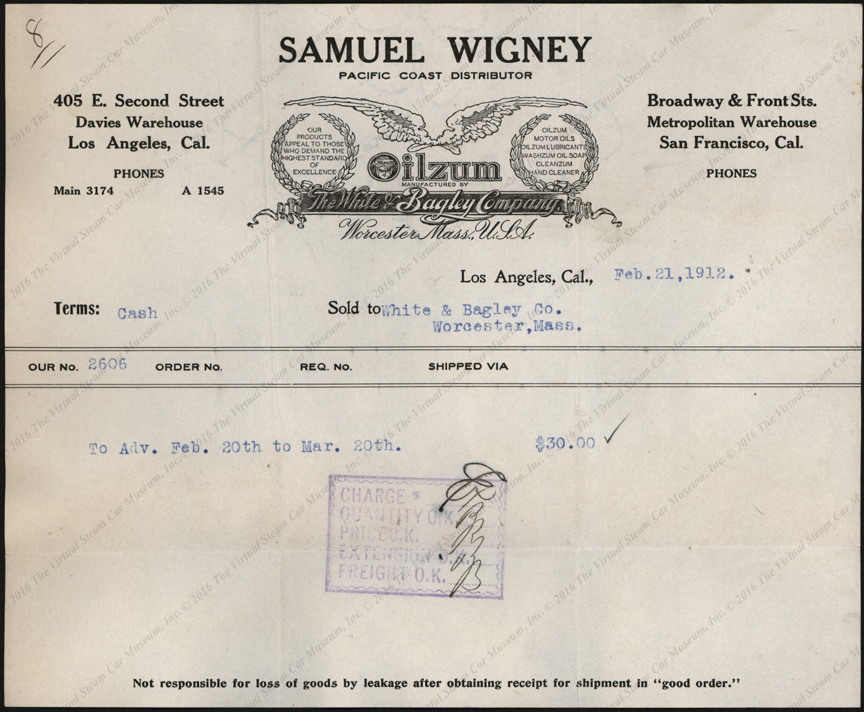 Samuel Wigney, Pacific Coast Distributor for White& Bagley Company, Oilzum products, Invoice, February 21, 1912.