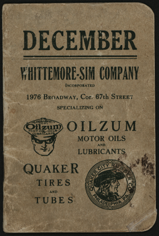 Whittemore-Sim Company, December 1916 Pocket Calendar, White & Bagley Company, Oilzum Motor Oils and Lubricants