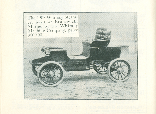 Whitney Machine Company Steam Car, R. S. Whitney, 1903 Floyd Clymer, p. 50