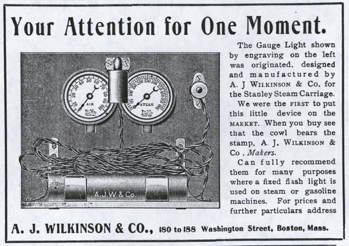 A. J. Wilkinson & Company, Magazine Advertisement for Electric Light for Stanley Steam Carriage, April 20, 1904, Horseless Age.
