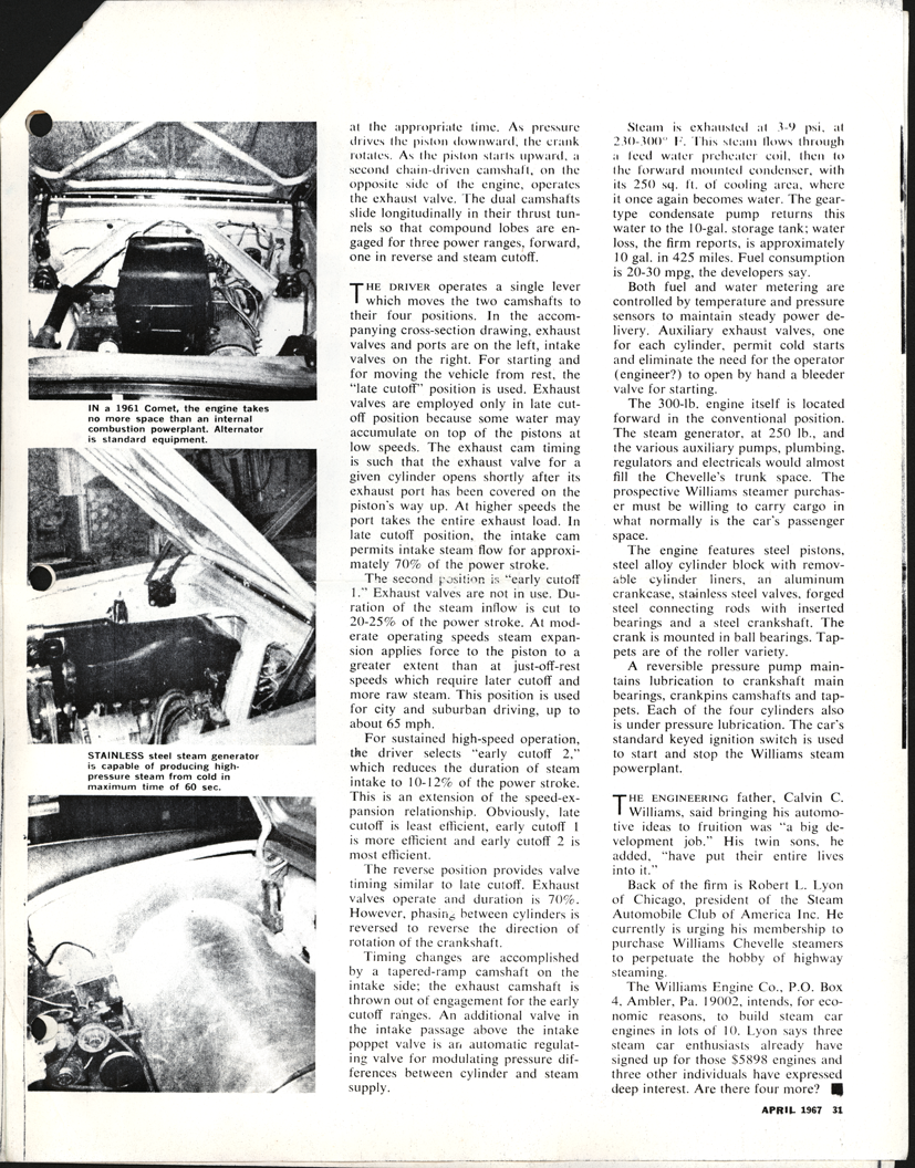 Williams Engine Copmany, Amber, PA, April 1967 Magazine Article, Car Life, p.  31