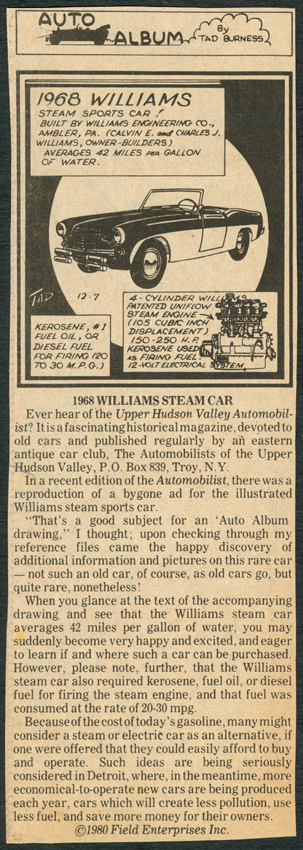 Tad Burgess Newspaper Feature about the Williams Steam Car