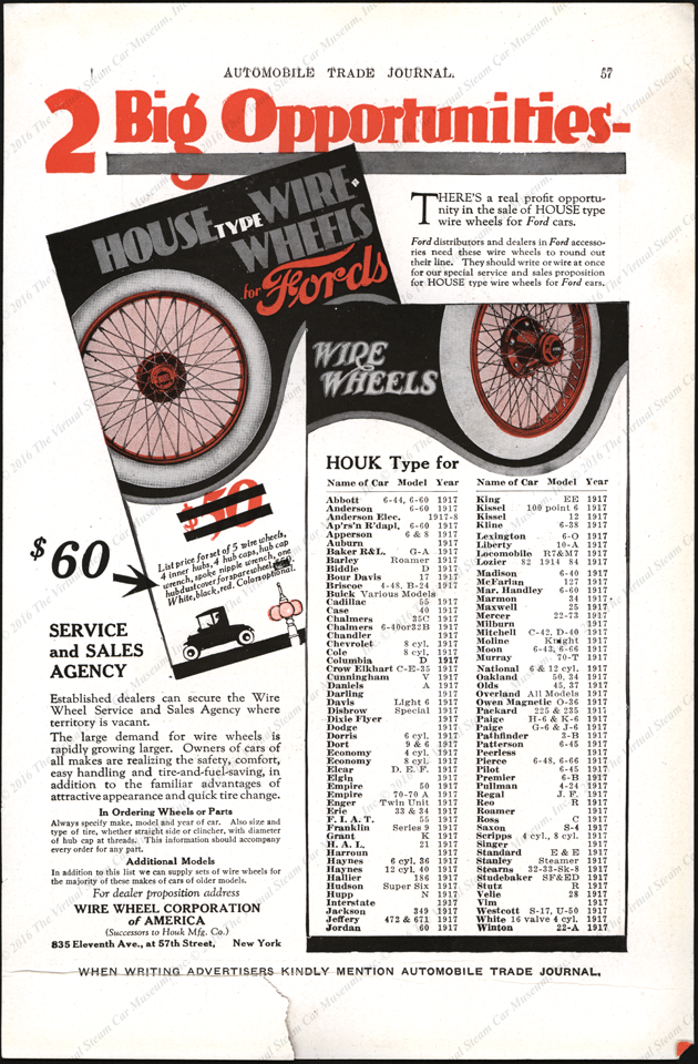 Wire Wheel Corporation of America, Houk Wire Wheels, Automobile Trade Journal, 1917, P. 57
